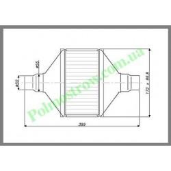 Катализатор плоский металлический LINDO GOBEX класса EURO 3 (для автомобилей с мощностью двигателя 1,4 - 2,0)  - 1