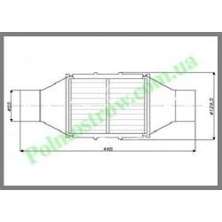 Катализатор круглый металлический LINDO GOBEX класса EURO 4 (для автомобилей с мощностью двигателя более 2,8)  - 1