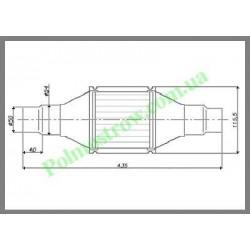 Катализатор круглый металлический LINDO GOBEX класса EURO 4 (для автомобилей с мощностью двигателя 1,4 - 2,0)  - 1
